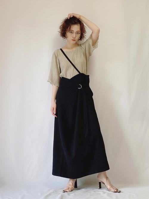 [YARD PLUS/AUNT MARIE'S] AUNT MARIE'S コットンツイルラップロングスカート