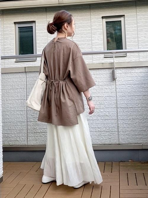 [YARD PLUS/AUNT MARIE'S] AUNT MARIE'S シフォン楊柳ロングスカート