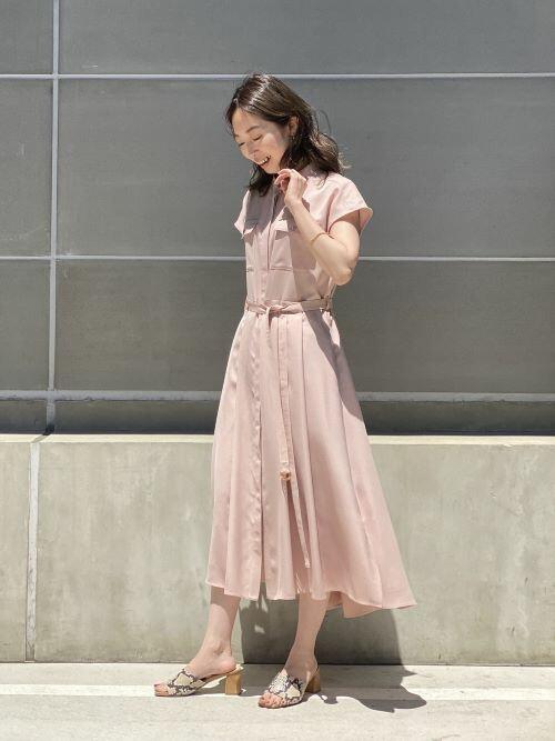 [Spick & Span] シャツイレヘム フレアワンピース(半袖)◆