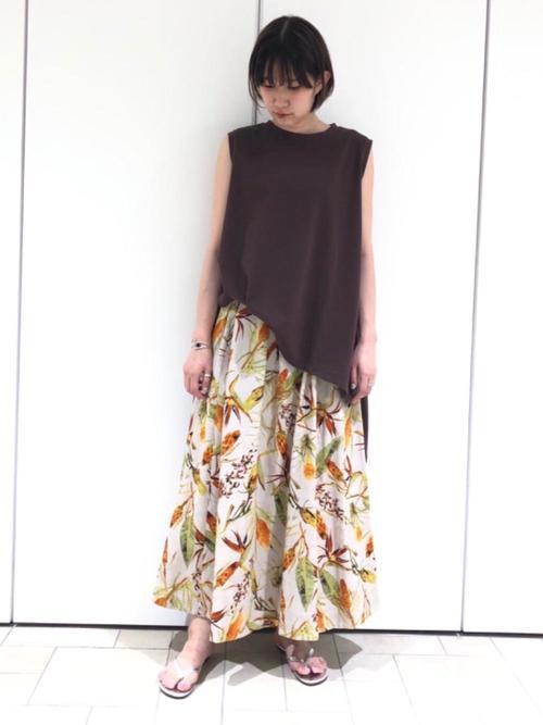 [BEAUTY&YOUTH UNITED ARROWS] BY ボタニカルプリントタックフレアスカート