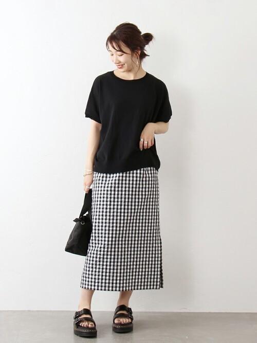 [JOURNAL STANDARD] マトラッセギンガムタイトスカート
