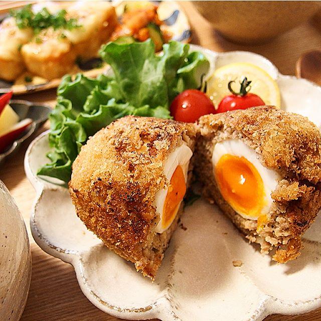 和食料理のおもてなし!半熟卵入りメンチカツ