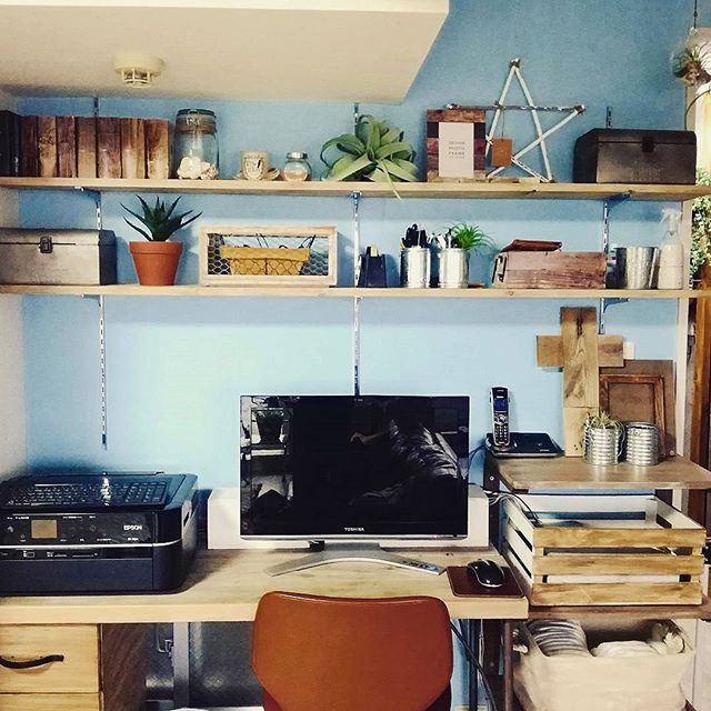 書斎のレイアウト実例《机の形》