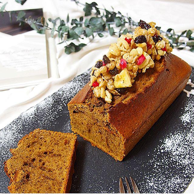 キャラメリゼグラノーラのパウンドケーキ