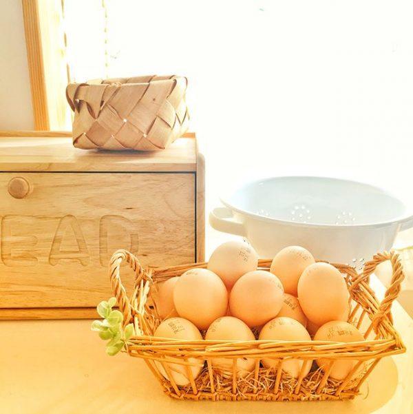 かごで卵を収納