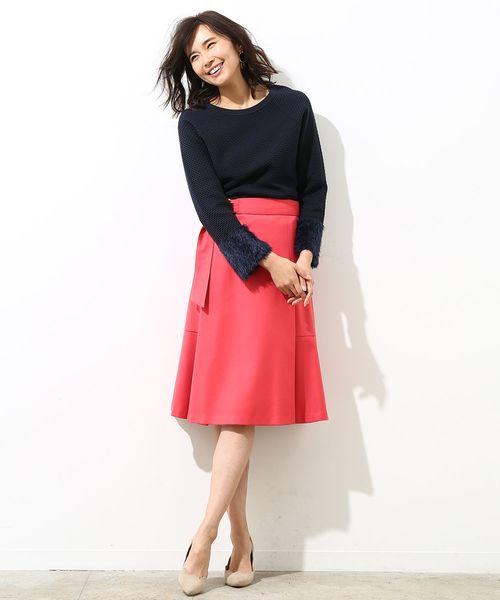 [ROPE'] 【ベルト付き】ラップ風フレアースカート