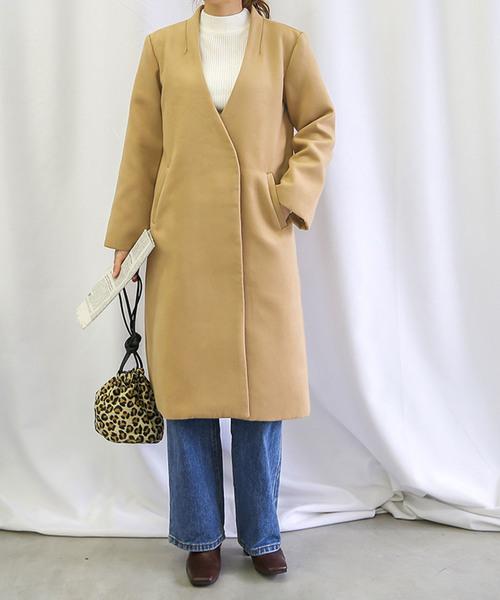 [select MOCA] ノーカラーコート/美シルエットVラインサイドポケット付長袖コート