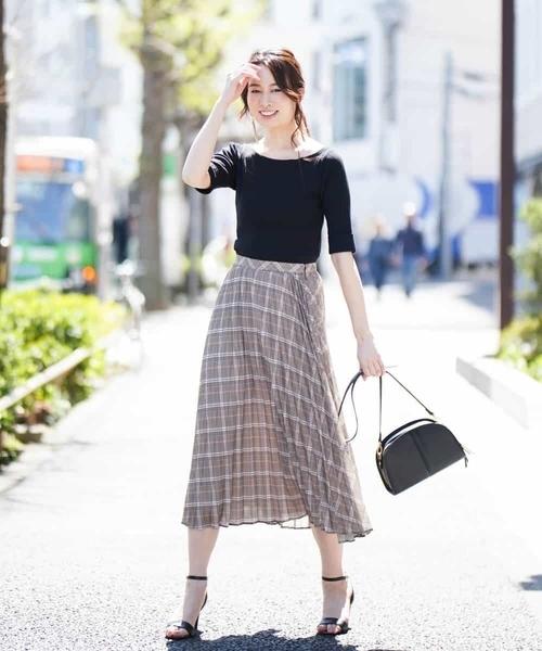 [MK MICHEL KLEIN homme] 【洗える】バイアスチェックptプリーツスカート