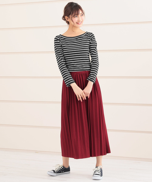 [Ninarobe] ミモレ丈カットオフプリーツスカート