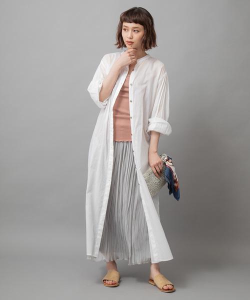 ロングシアーシャツの春コーデ