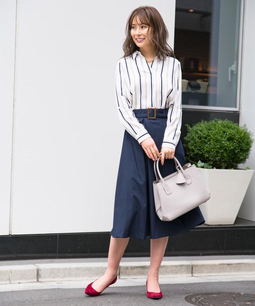 [TONAL] (洗える/シワになりくい/日本製)ウールライクワイドベルトタックフレアスカート