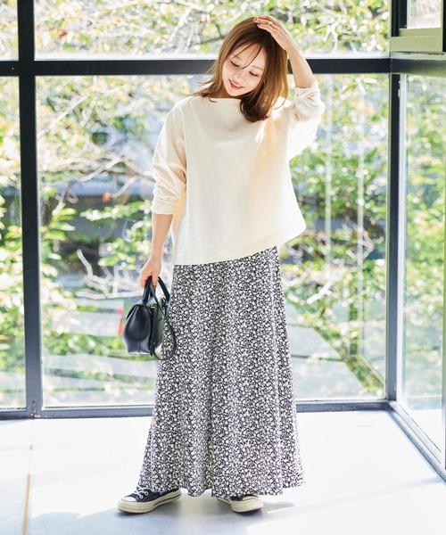 10月初旬の服装|プリントT×ロングスカート