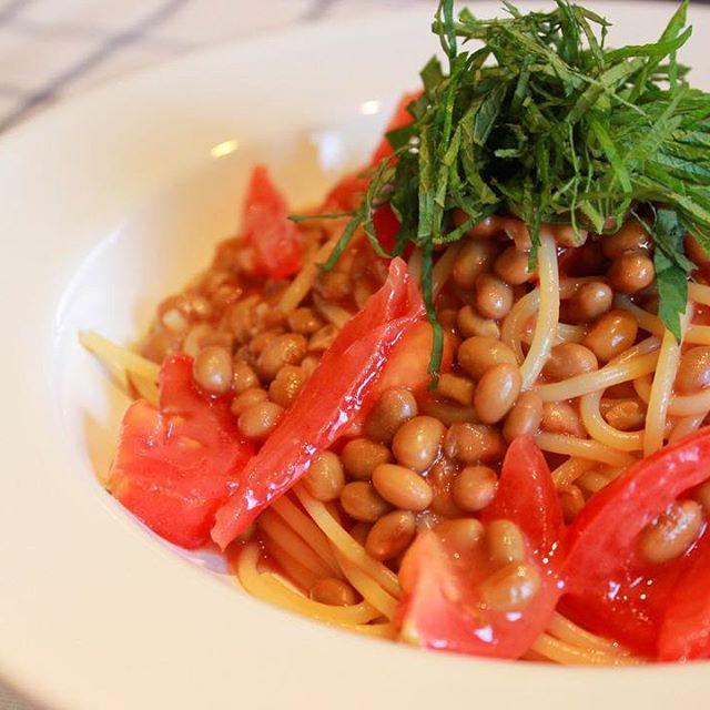 美味しいレシピ!納豆とトマトの冷製パスタ