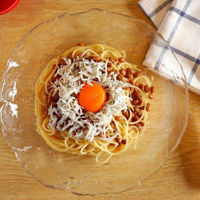 美味しいレシピ!納豆としらすの冷製パスタ