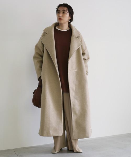 [select MOCA] オーバーサイズスリットコート/ベルト付きチェスターロング丈コート