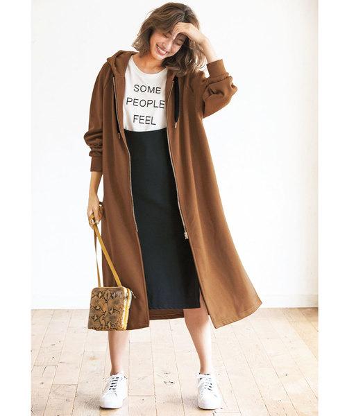 10月下旬の服装|ロングパーカーコート×スカート