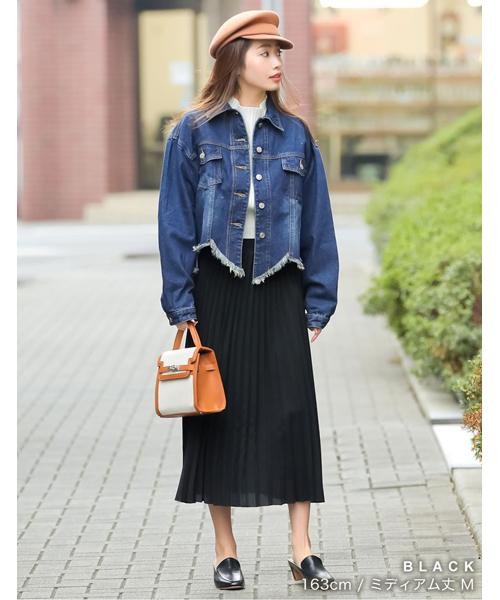 デニムジャケット×ミディプリーツスカート