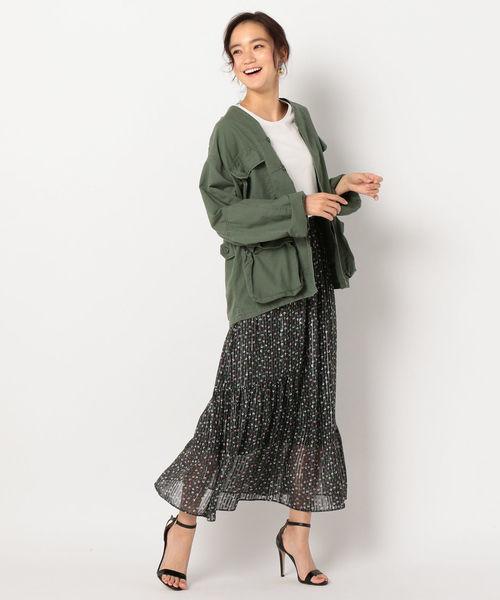 [NOLLEY'S] 小花柄プリント裾切り替えロングスカート