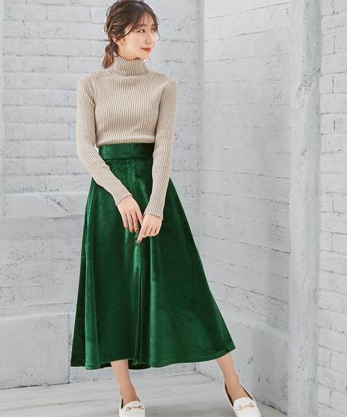 [Ninarobe] ベロア前スリットフレアロングスカート