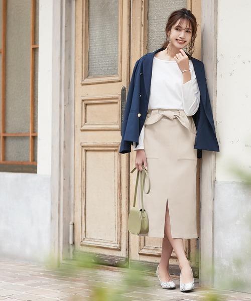 [kobelettuce] [ミディアム丈/ロング丈]ウエストリボン付き2Wayストレッチタイトスカート
