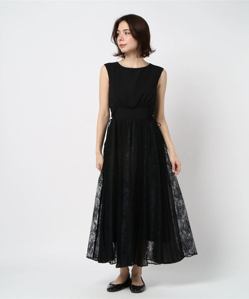 [Dorry Doll/ Luxe brille] フラワーレースxパネルプリーツ切替スカート ウエストレースアップミモレ丈ワンピースドレス