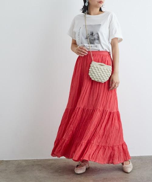 [ROPE'] サテン楊柳ティアードロングスカート