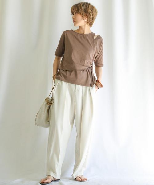 [select MOCA] レイヤードカットトップス/コットンブレンドラウンドネック肌見せウエストリボンデザインTシャツ