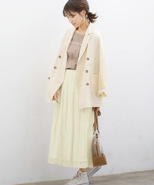 [Pierrot] プリーツチュールロングスカート