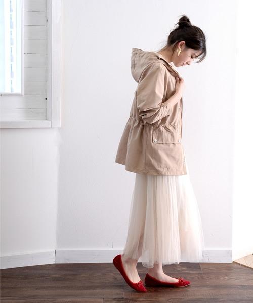 10月下旬の服装|マウンテンパーカー×チュールスカート