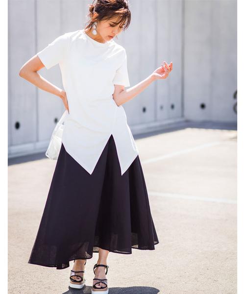 [tocco closet] 【@kazumint20コラボ】リネン混フレアロングスカート