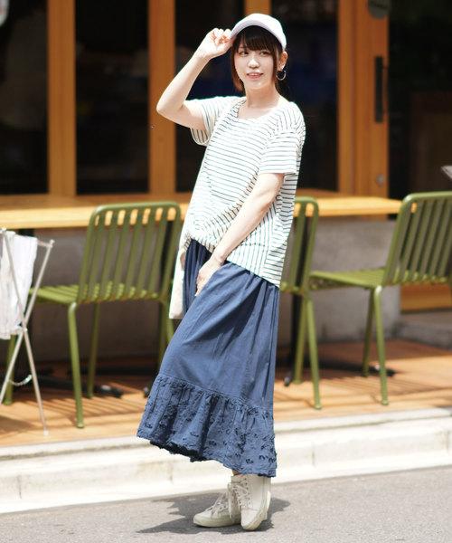 [itowa tokyo&wordtrobe] 【wordtrobe】3D刺繍 ボリューム裾 スカート