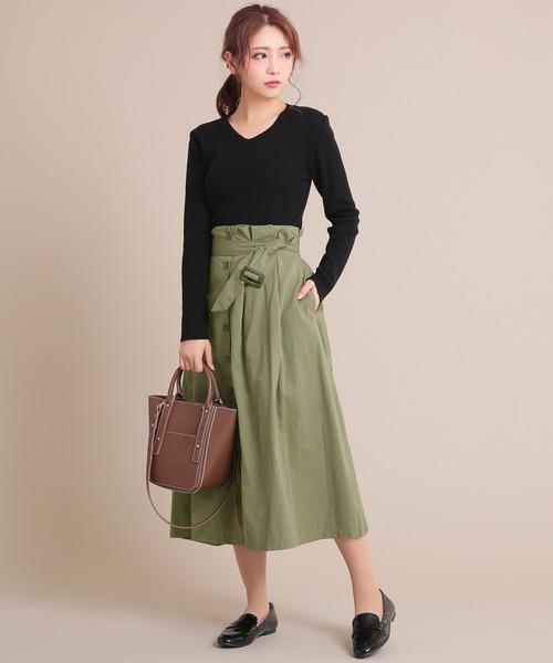 [Ninarobe] ベルト付きボタンサイドタックフレアロングスカート