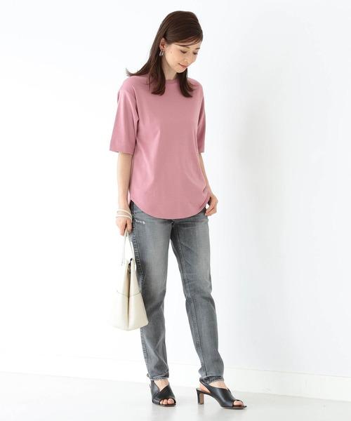 [BEAMS WOMEN] Demi-Luxe BEAMS / スムース ハーフスリーブTシャツ