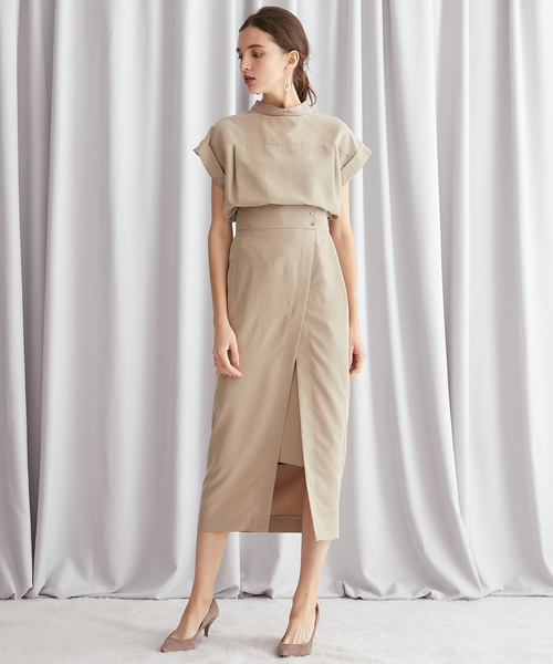 [STUDIOUS WOMENS] 【STUDIOUS】パウダーサテン セットアップ スリットスカート