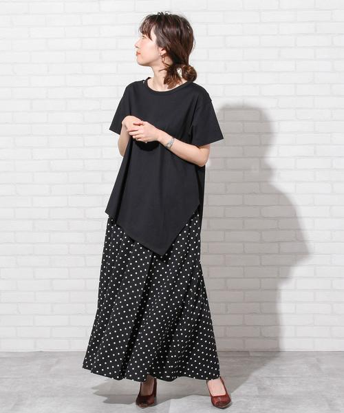 [coen] プリントタックロングスカート#