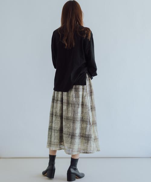 [itowa tokyo&wordtrobe] 【wordtrobe】レース×チェックプリントスカート