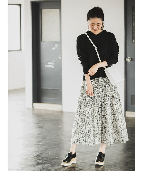 [tocco closet] オフプリーツアニマル柄スカート