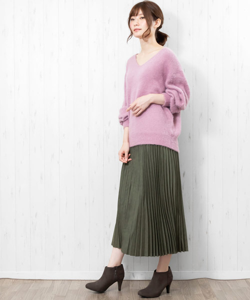 [mili an deni] スエード素材プリーツスカート