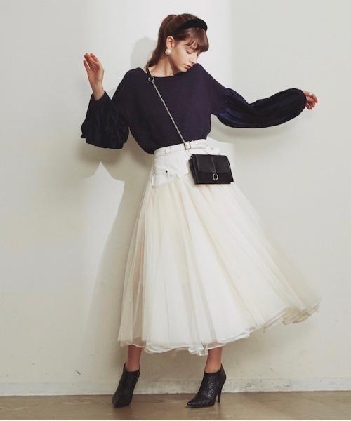 [Auntie Rosa] 【LA BELLE ETUDE】【Belle vintage】ベルトデニムドッキングボリュームチュールスカート