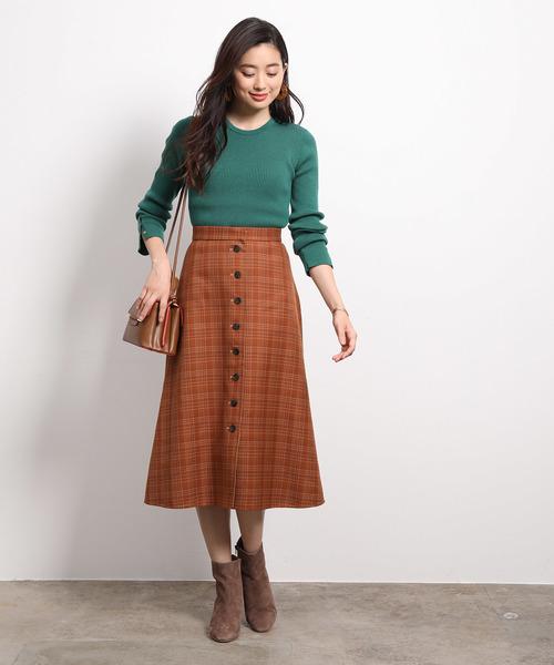 [ROPE'] チェック×ムジ リバーシブルスカート