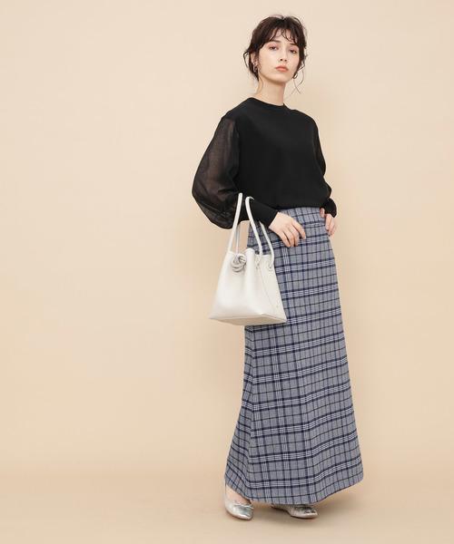 [ADAM ET ROPE'] 【WEB限定】ウールチェックマキシスカート
