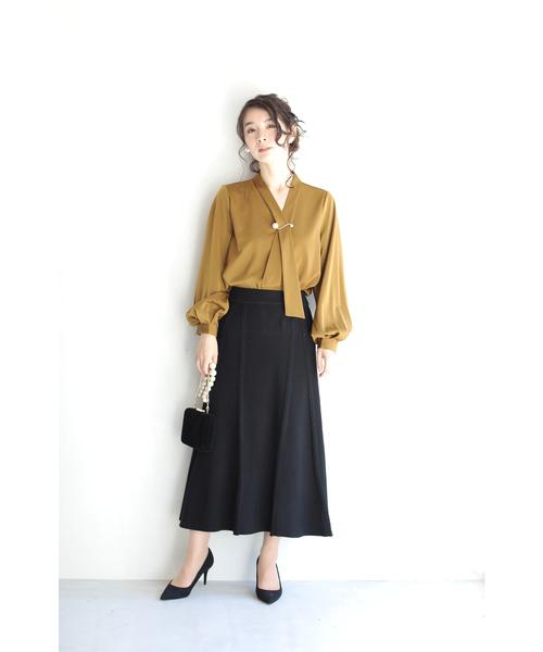 [FRENCH PAVE] (黒)編み目ラインのミディアムニットスカート(ブラック)