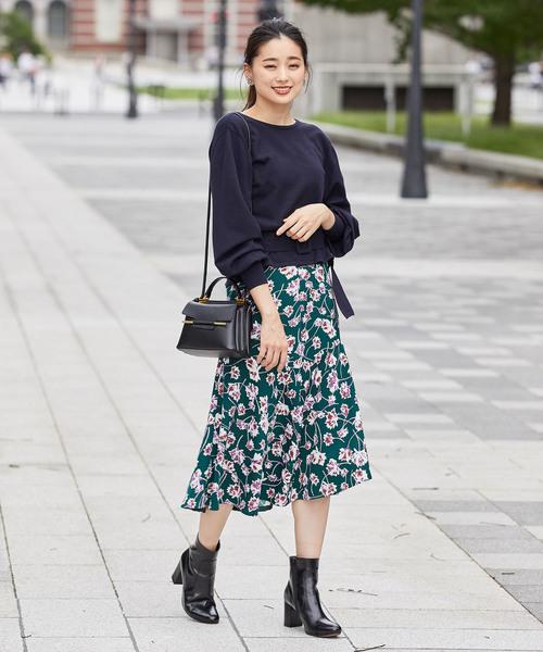[ROPE'] フラワープリントマーメードスカート