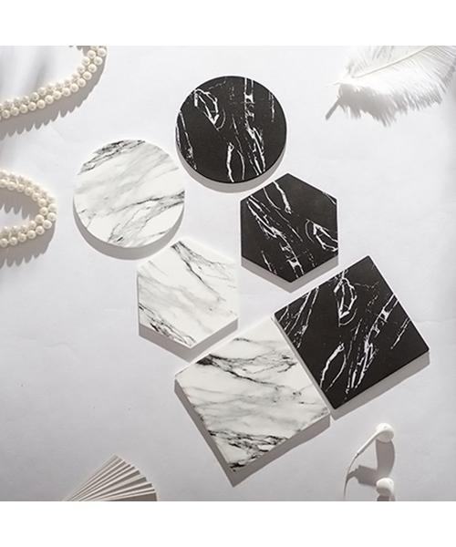 [RiNc] 【ART OF BLACK】大理石柄 PVC コースター