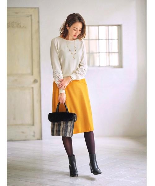 [WORLD ONLINE STORE SELECT] 【洗える】ウールフレアカラースカート