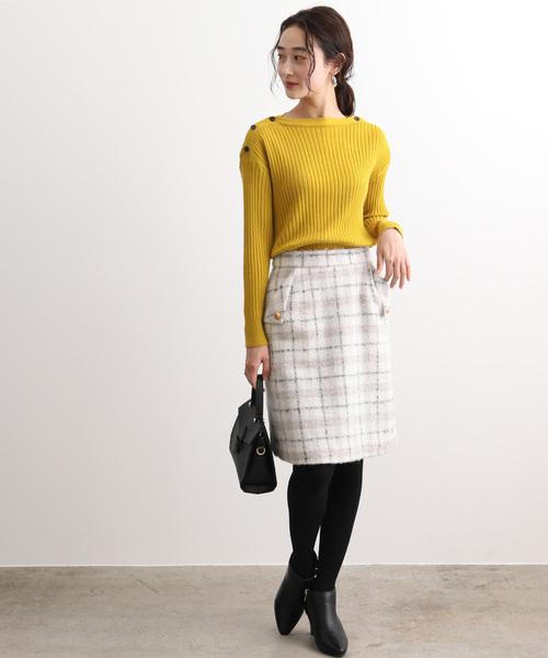 [ViS] チェックシャギーゴールド釦スカート