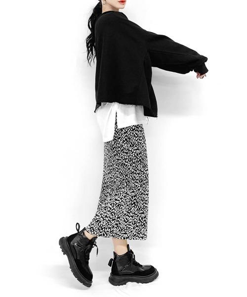 [LVEU.] Micro pleats leopard skirt / マイクロプリーツレオパードスカート
