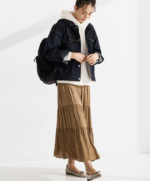 ビッグサイズジージャン×ティアードスカート