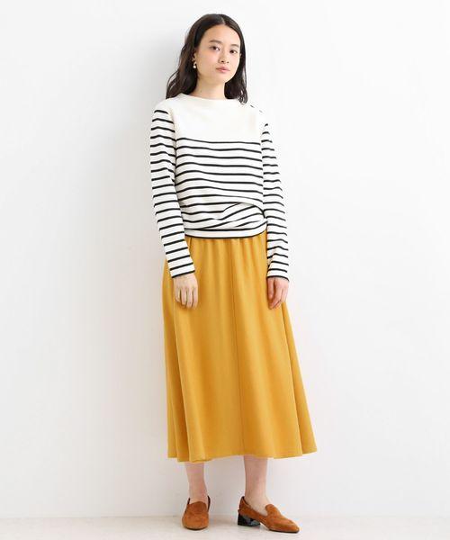 [LA MARINE FRANCAISE] ウール混カラーフラノ フレアースカート
