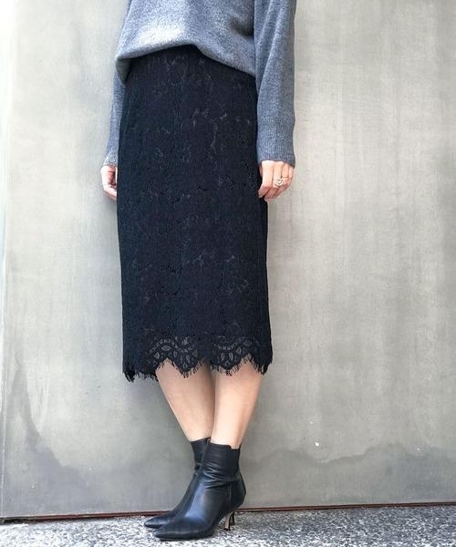 [nano・universe] 【WEB限定】フロッキーレースタイトスカート